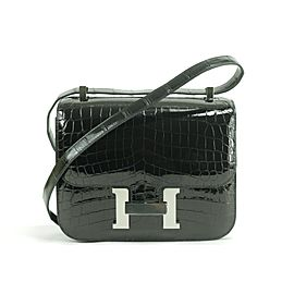 Hermès Constance 2019 24 Shiny Crocodile Niloticus 31hk0124 Black Alligator Cross Body Bag