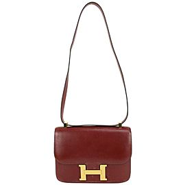 Hermès GHW Bordeaux Box Calf Leather Constance 23 Crossbody Flap Bag 831her38