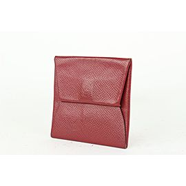 Hermès Dark Red Chevre Leather Bastia Fold Coin Pouch Change Wallet 186her712