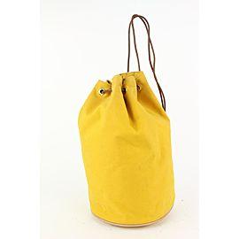 Hermès Yellow Canvas Sac Polochon Mimile Drawstring Backpack 913her18