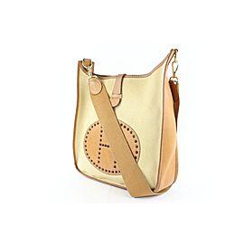 Hermès Evelyne Bicolor H Logo Cross Body 11hz1129 Beige Canvas Messenger Bag