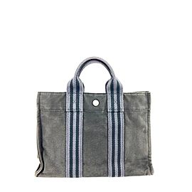 Hermès Fourre Tout Bag Grey/Black Pm 10her630 Grey Canvas Tote