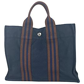 Hermès Fourre Tout Bag Pm 29her63 Navy Blue Canvas Tote
