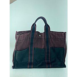 Hermès Fourre Tout Gm Bicolor 12her623 Burgundy Canvas Tote