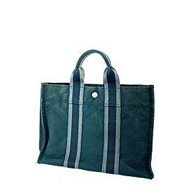 Hermès Fourre Tout PM Striped Tote Navy Grey 13her0