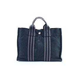 Hermès Fourre Tout Striped 11hr0226 Navy X Grey Canvas Tote