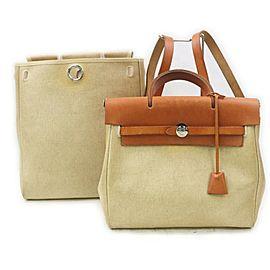 Hermès Toile Beige Sac a Dos Herbag Backpack 2-in-1 Bag 862272