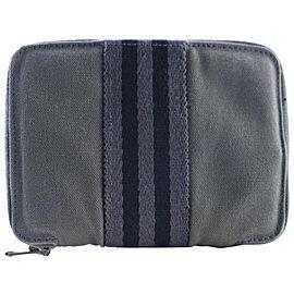 Hermès Herline Zip Around Wallet 19hr0530 Grey Canvas Clutch