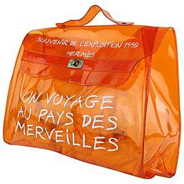 Hermès Kelly L 1998 L'exposition Clear Souvenir 24hz1019 Orange Vinyl Tote