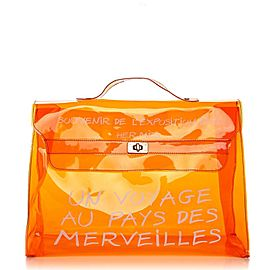 Hermès Kelly L Souvenir Clear L'exposition See Through Translucent 24her63 Orange Vinyl Tote