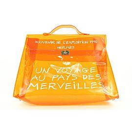 Hermès Souvenir De L'exposition 1998 Kelly Clear Shopping Orange Bag 0her126