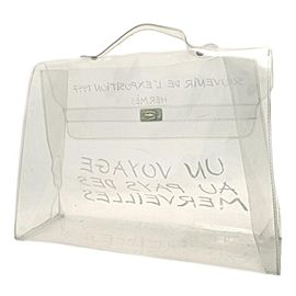 Hermès Kelly Souvenir Translucent 1997 14her626 Clear X White Vinyl Tote