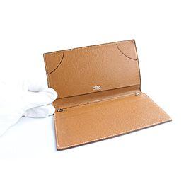 Hermès Long Bifold Agenda Wallet 25hr0501 Brown Leather Clutch