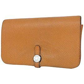 Hermès Long Wallet Dogon Wallet 860019 Brown Leather Clutch