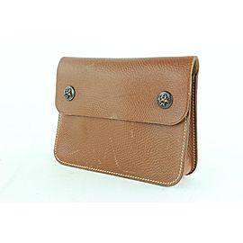 Hermès Pochette Green Fanny Pack Waist Pouch 12hz1130 Brown Leather Clutch