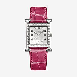 Hermès Raspberry X Silver 26mm Heure H Alligator Diamond Hh1.530 ) 11hr0212 Watch