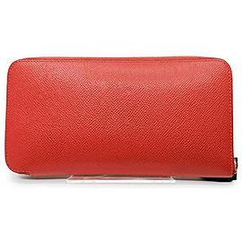 Hermès Red Epsom Leather Azap Silkin Zip Around Long Wallet 863027