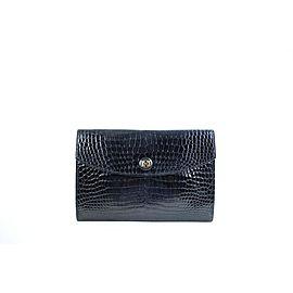 Hermès Porosus Crocodile Pochette Rio 45hera41017 Black Clutch