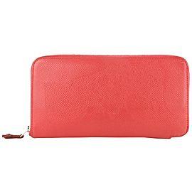 Hermès Silk'in Long Zip Around Wallet 4hz1029 Coral Leather Clutch