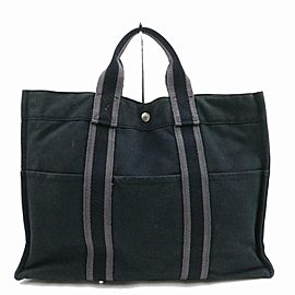 Hermès Tout Herline Cabas Striped Fourre 871714 Navy Blue Canvas Tote