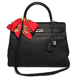 Hermes Black Togo Leather 35 cm Kelly Bag with Strap