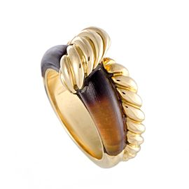 Hermes Hercules 18K Yellow Gold with Tigers Eye Cable Band Ring Size 5.25