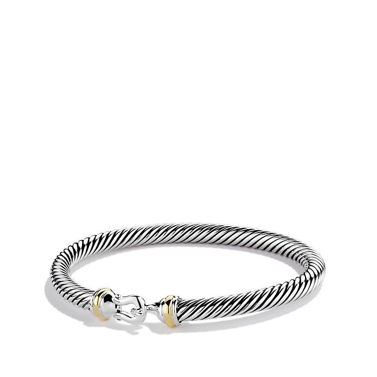 David Yurman Sterling Silver 18k Yellow Gold Cable Clics Bracelet At Truefacet