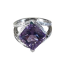 Mauboussin 18K White Gold Diamond Amethyst Ring Size 6