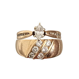 14k Gold Engagement Ring and Wedding Band Size 4.5