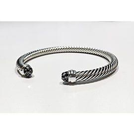 David Yurman Cable Bracelet Sterling Silver 0.27ctw Black Diamonds