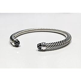 David Yurman Cable Bracelet Sterling Silver 0.27ctw Black Diamonds