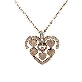 Chopard Rose Gold and Pave Diamond Amore Hearts Pendant Necklace