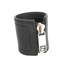 Fendi Black Leather Silver Tone Metal Zip Up Bangle