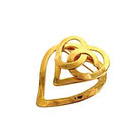 Chanel Gold Tone Hardware Coco Heart Brooch