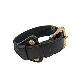 Louis Vuitton Gold Tone Hardware Black Leather Bracelet