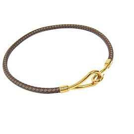 Hermes Jumbo Gold Tone Hardware Leather Casual Choker Necklace