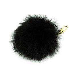 Louis Vuitton Gold Tone Hardware Leather Noir Fuzzy Bubble Bag Charm