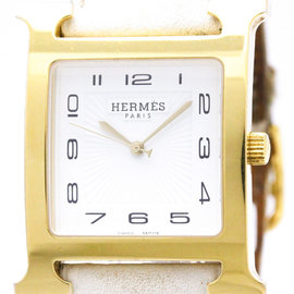 Hermes Heure H HH1.801 Gold Plated / Leather 30mm Mens Watch