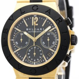 Bulgari Diagono AC38G Automatic Rubber Yellow Gold Men's Watch