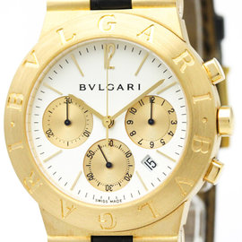 Bulgari Diagono CH35G 18K Yellow Gold & Leather Quartz 35mm Mens Watch