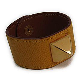 Hermes Gold Tone Hardware & Courchevel Leather Bracelet