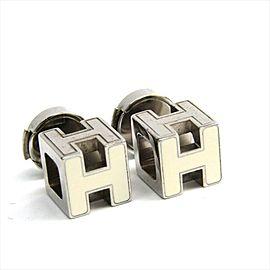 Hermes Silver Tone Hardware Cage Stud Earrings