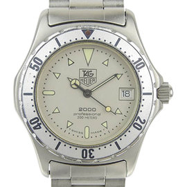 Tag Heuer 2000 972.013 Stainless Steel Ivory Dial Quartz 34mm Mens Watch