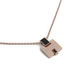 Hermes Rose Gold Tone Hardware & Lacquer Pendant Necklace