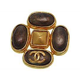Chanel Gold Tone Hardware with Brown Color Stone Vintage Brooch