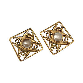 Chanel Coco Mark Gold Tone Hardware with Simulated Glass Pearl Vintage Earrings