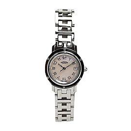 Hermes Clipper Nacre Cl 4.210 Stainless Steel Quartz Shell Womens 24mm Watch