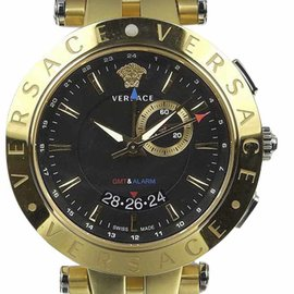 Versace V Race 29 G Stainless Steel and Gold Plated 44mm Mens Watch