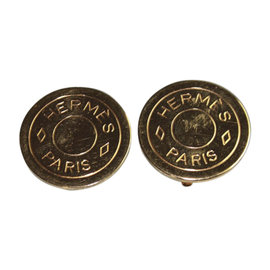 Hermes Sellier Gold Tone Hardware Clip Earrings