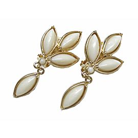 Yves Saint Laurent Gold Tone Hardware Leaf Earrings